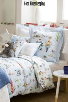 Animals and Transport Percale Cotton Bed Linen Bedroom Decor Inspiration, Childrens Interiors, Cool Beds, Brooklyn Bedding, Cotton Bed Linen, King Bedding Sets, Bed Linens Luxury, Cozy Bed, Modern Bed