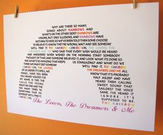 The Lovers The Dreamers and Me Rainbow Connection Lyrics A4 Size Art Poster Print. $15.00, via Etsy.