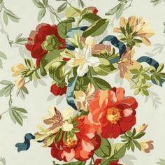 Schumacher Ellesmere Ribbon Floral Aqua Fabric