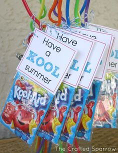 """would be cute for Jacob's class...The Crafted Sparrow: Have a """"Kool"""" Summer - End of Year Goodbye Gift for Classmates"""