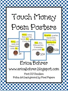 Free Touch Money Posters- I love the idea of teaching them to draw touch dots to help them count money!