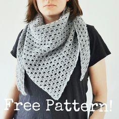 Kostenlose Häkelanleitung für sportliches Dreieckstuch //Free pattern: crochet  triangle scarf