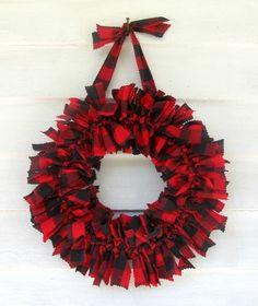 "Lumberjack red & black tartan plaid, 12"", fabric Rag Wreath $36 | RagWreath - Housewares on ArtFire"