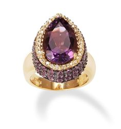 Pear Shaped Amethyst Ring with Pink Sapphires and Diamonds only $2,495.00 - Cocktail Rings