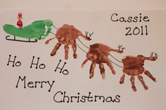 Hand prints for reindeers and santa is made out of thumb prints. ho ho ho! super cool!