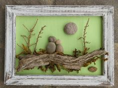 "Pebble Art Couple sitting on log under tree and sun/moon set on a beautiful light green background in a 5x7 ""open"" wood distressed frame by CrawfordBunch on Etsy"
