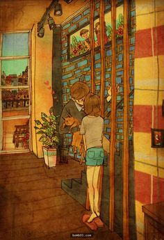 韓國插畫家把自己和愛人的生活點滴畫成溫暖的插圖…沒戀愛過的人看了都會明白愛是什麼。 - boMb01
