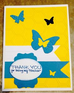 Blue and yellow teacher thank you card.  on Etsy, $4.57 CAD Teacher Thank You Cards, Your Cards, Yellow, Blue, Card Ideas, Etsy