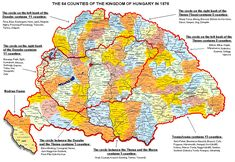 Kingdom of Hungary: 64 counties, 1876 Romania Map, Austro Hungarian, Alternate History, Old Maps, Historical Maps, Cartography, Eastern Europe, Roman Empire, Coat Of Arms