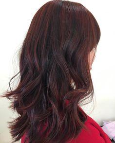 Maroon Balayage For Dark Brown Hair