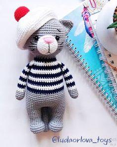 Crochet Amigurumi Free Patterns, Crochet Animal Patterns, Stuffed Animal Patterns, Crochet Baby Toys, Crochet Teddy, Kawaii Crochet, Beginner Crochet Projects, Knitted Animals, Cat Pattern