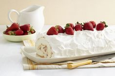 Just add water to an angel food cake mix to make the base for this creamy strawberry-filled cake roll.  And after making this impressive…