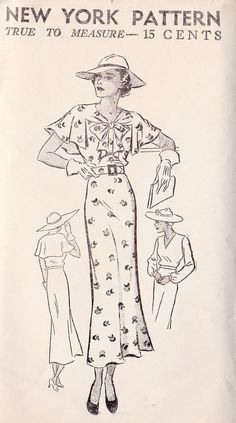 1930s Misses Dress and Cape Vintage Sewing by MissBettysAttic, $38.00