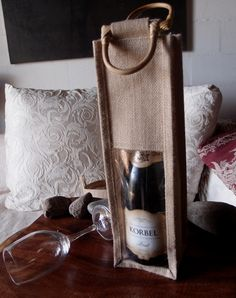 Burlap  Wine Bags with bamboo handles and clear windows from harvest import inc. / wholesale