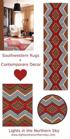 Beautiful southwestern rugs will add a splash of vibrant color and design to your contemporary decor!  Many designs available at Lights in the Northern Sky