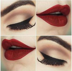 beauty, cool, eye, eye liner, eyebrow, eyelashes, eyeshadow, girl, lips, lipstick, love, make up, makeup, mouth, outfit, red