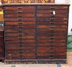 Unique antique wooden cabinet with 30 drawers