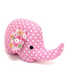 Take a look at this Pink & White Dotted Fabric Elephant Bookend by Concepts on #zulily today!