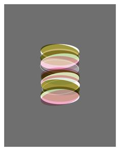 Mid Century Inspired Art Print - Stack Mini in Grey, Pink, Olive Green, Mint Green. $24.00, via Etsy.