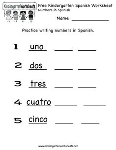 Free Kindergarten Spanish Worksheet Printables. Use the Spanish Worksheet PDF 4 lines down. Works great!