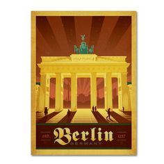 """Trademark Art """"Berlin, Germany"""" by Anderson Design Group Vintage Advertisement on Wrapped Canvas Size: 24"""" H x 18"""" W x 2"""" D"""