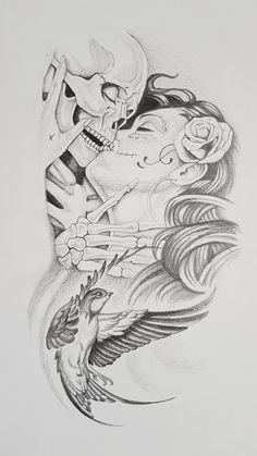 Sketch Tattoo Design, Skull Tattoo Design, Tattoo Sketches, Tattoo Drawings, Tattoo Designs, Chicano Drawings, Chicano Art, Cool Arm Tattoos, Skull Tattoos