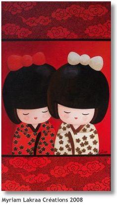 "KOKESHI (peinture acrylique sur toile) ""Les jumelles"" - 2008 - Myriam Lakraa Créations (Strasbourg, France)"