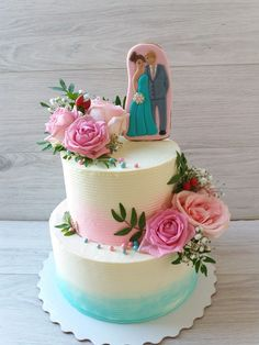a wedding cake Art Cakes, Cake Art, Beautiful Wedding Cakes, Gorgeous Cakes, Wedding Cake Designs, Wedding Cake Toppers, Bolo Fake, Silver Anniversary, Wedding Cake Inspiration