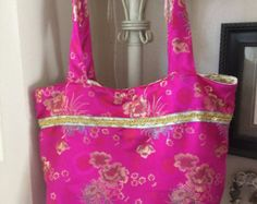 Pink jacquard tote bag by leahssewingcreations. Explore more products on http://leahssewingcreations.etsy.com