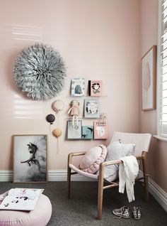 The norsuHOME - Annabel's Bedroom  Photographer: Lisa Cohen Stylist: Beck Simon  Paint: Dulux Mornington Half Carpet: Godfrey Hirst  Shutters: Carpet Court  Products:  Frey Home Juju Barnaby Lane chair Mrs Mighetto print, Honey Honey Leather wall balloons, Mint Rhapsody Bookshelves & books (all available at www.norsu.com.au)