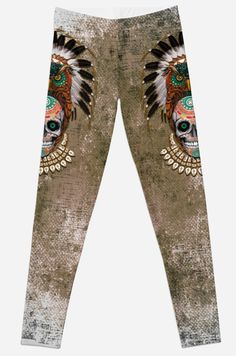 indian native Owl sugar Skull Leggings #Leggings #tshirt #clothing #womanfashion #fashion #thedayofthedead #mexico #sugarskull #mexicoskull #horror #pattern #love #popart #indian