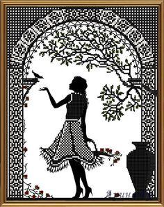Gallery.ru / Фото #8 - БИСЕР - my-joy Blackwork Patterns, Cross Stitch Patterns, Crochet Patterns, Cross Stitch Silhouette, Creepy Art, Filet Crochet, Cute Drawings, Cross Stitch Embroidery, Photo Art