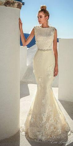 Eva Lendel 2017 bridal sleeveless jewel neckline heavily embellished bodice elegant fit and flare wedding dress full lace back sweep train (maya) mv #wedding #bridal #weddingdress #mermaid #evalendel