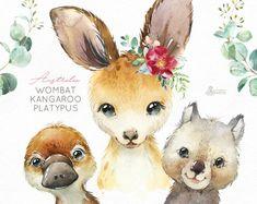 Australia Wombat Kangaroo Platypus Watercolor little animals clipart babies portrait eucalyptus wreath flowers kids nursery art baby-shower Bear Watercolor, Watercolor Images, Watercolor Animals, Clipart Baby, Christmas Cars, Baby Showers, Giraffe, Elephant, Baby Koala
