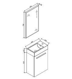 Meuble lave main salle de bain design SIENA largeur 40 cm Chªne Noir