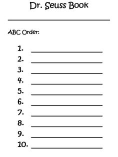 ABC Order(Dr. Seuss birthday)