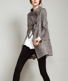 Another great find on #zulily! Coffee Convertible Zip-Accent Coat - Women by Vanillachocolate #zulilyfinds
