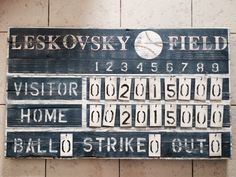 This is item is for a customized vintage style scoreboard. This is item is for a customized vintage style scoreboard. It will be great for your game room or j Vintage Baseball Room, Vintage Sports Decor, Vintage Sports Nursery, Vintage Decor, Baseball Scoreboard, Rays Baseball, Baseball Girls, Boy Room, Kids Room