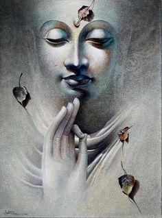 Buddha by Amit Bhar Budha Painting, Krishna Painting, Krishna Art, Buddha Kunst, Buddha Zen, Lord Buddha Wallpapers, Budha Art, Buddha Drawing, Buddha Wall Art