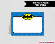 Batman Birthday Party Food Labels Printable by PupiloftheWorld, $4.00