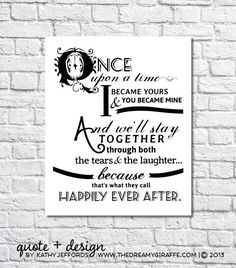 Happily Ever After Quote Print For Newlyweds by thedreamygiraffe