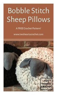How to crochet the Bobble Stitch Sheep Pillows | bobble stitch crochet tutorial | crochet sheep free pattern