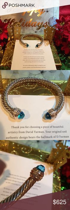 "🎄💯David Yurman 7mm topaz bangle with pave cuffs 🎄gorgeous and in gift polished condition with signature pouch and DY gift box .  This is very elegant and timeless. DY hallmark 925.  Will fit a wrist size of 4.75"" to 6"". David Yurman Jewelry Bracelets"