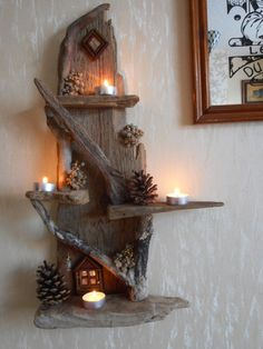 Beautiful Driftwood Fairy House Candle Display by oddityavenue