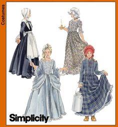 Simplicity Pattern 5042  girls size multi Costumes for Kids pilgrim, colonial prairie pioneer. 2004