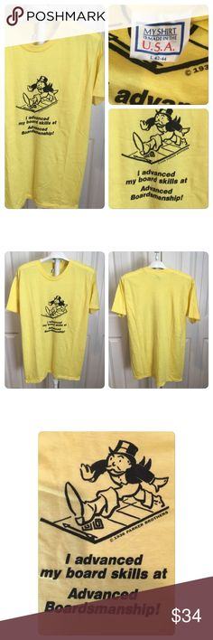 Vtg Parker Bros Monopoly T-shirt Vtg Parker Bros Monopoly T-shirt . Printed on a my T-shirt brand 50-50 polycotton thin yellow T-shirt. No holes no stains no rips no tears. No fading or cracking of graphics Vintage Shirts Tees - Short Sleeve