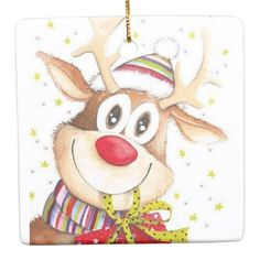 Cute Reindeer Ceramic Ornament - merry christmas diy xmas present gift idea family holidays Christmas Scenes, Noel Christmas, Christmas Paper, Christmas Pictures, Winter Christmas, Christmas Crafts, Christmas Decorations, Illustration Noel, Christmas Illustration