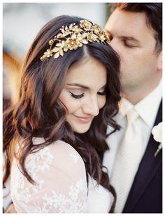 Gold hair adornment, gold hair accessory, gold crown, gold flower crown - Rachel Solomon Photography Blog | Eucalyptus and Gold Wedding Inspiration | http://blog.rachel-solomon.com