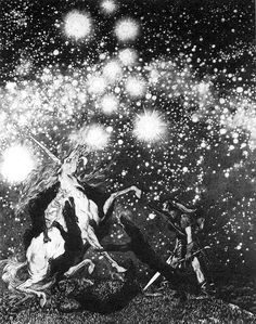 unicorn and stars. I wish I knew the original title of this and what it was meant to illustrate. Sidney Sime - 8 by Aeron Alfrey, via Flickr