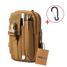 Mokasi1000D Pouch Nylon Tactical Molle Bag Militarywith a belt loop Utility Waist Pack Pocket Money Purse for iphone 6s 6 plus 5s 5c Samsung Galaxy Note 5 4 3 LG G4 G3 khaki * Click on the image for additional details.
